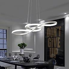 ZMH LED Pendelleuchte Esstisch Hängeleuchte Deckenleuchte 38W Dimmbar Mit  Den Fernbedienung Höhenverstellbar Aus Acryl Und Aluminium