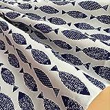 YILE Baumwoll- / Leinenstoff, 1Meter (100x 150cm), zum Nähen, für Handwerk, bedruckt mit blauem Fischmuster