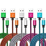 iRoundy Micro USB Cable Android , 5 Pack Braided Fabic Nylon Woven USB Data Sync Charger Cable Cord Wire for Motorola, Nokia, Samsung Galaxy HTC ,Android and Most Smartphone & Tablets