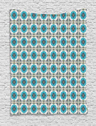 TRUIOKO Geometric Tapisserie, Circles and Squares with Vibrant Color Palette Checkered Grid Design West African, Wall Hanging for Bedroom Living Room Dorm Wall Tapisserie Decor,80