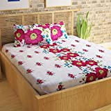 Story@Home 152 TC 100% Cotton Classic Elegant Floral Pattern 1 Pc Double Bedsheet with 2 Pillow Covers Pink