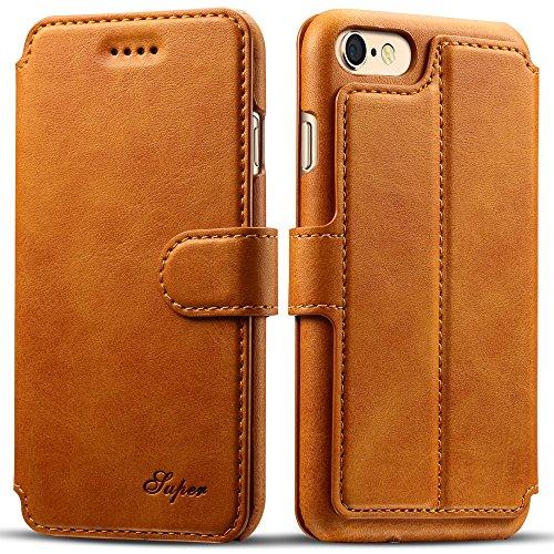 iPhone 6 Plus/6s Plus Etui Wallet ,VENTER® Etui Wallet iPhone 6 Plus/6s Plus - Cover iPhone 6 Plus/6s Plus - Hülle, Wallet Kartenfach Premium Ledertasche mit Stand-Funktion - Praktishe Leder Flip Schu Kamel