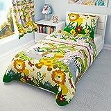 Parure de lit pour filles Housse de couette et taie d'oreiller pour lit enfant/bébé–Animaux de la jungle Rose, Coton, rose, 90x120 cm