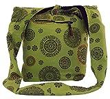 Guru-Shop Sadhu Bag, Goa Tasche, Schulterbeutel - Grün, Herren/Damen, Baumwolle, Size:One Size, 35x35x15 cm, Bunter Stoffbeutel