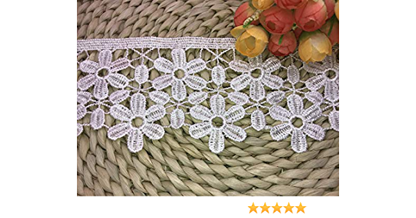 2Yard in one Package 8CM Width Europe Snowflake Pattern Inelastic Embroidery Lace Trim,Curtain Tablecloth Slipcover Bridal DIY Clothing//Accessories. Black