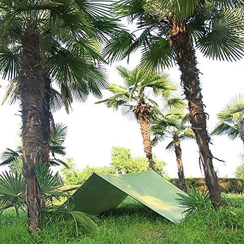 Azlife ultraléger Tente Bâche étanche anti-UV Large Vert Hamac Tarp Portable Sun pluie Shelter Sac à dos camping Rainfly avec piquets Corde