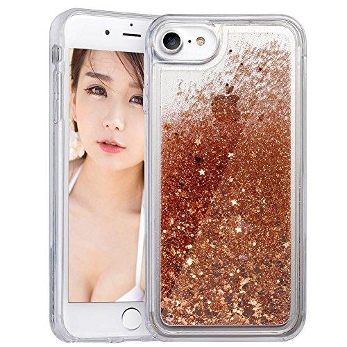 Coque iPhone 6/6s Plus , Wuloo Liquid Glitter Étui Cute Floating Sparkle Bling Coque Shiny Soft TPU Housse pour iPhone 6/6s Plus GOLD