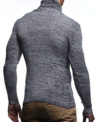 58576488e00a ... LEIF NELSON Herren Pullover Strickpullover Hoodie Basic Schalkragen  Crew Neck Sweatshirt langarm Sweater Feinstrick LN1535 Schwarz
