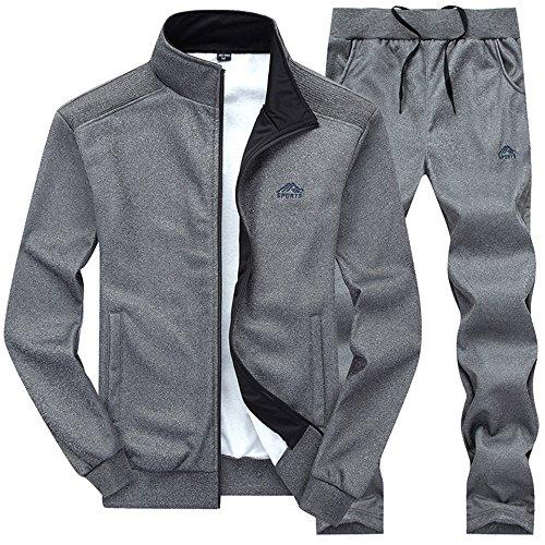 donhobo Herren Jogginganzug Trainingsanzug Sportanzug Fußball Sporthose Hoodie Hose für Gym Warm Fleece Tracksuit 01Dunkelgrau