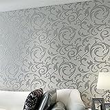 Alger Vliesstoffe Wohnzimmer Schlafzimmer 3D Wandgemälde TV Kulisse Blumen Muster Schallschutz Schallabsorption Modern Minimalistisch Tapete 0.53M x 10M, silver gray