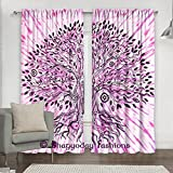 """Indian Hand Tie Dye Pink Tree Of Life Window Curtains, Tree of Life Decor Collection, Wall Curtains, Living Room Bedroom Curtain Treatments 2 Panels Set 84 x 80"""" By Bhagyoday Fashions"""