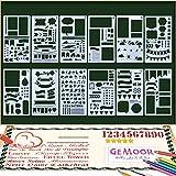 GeMoor Zeichenschablonen 12 Stück Schablonenmalerei Stencil Set Kunststoff Schablonen für Bullet Journal Scrapbooking DIY Design und Craft Projekte (12 Stk)
