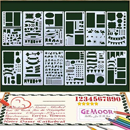 Stift-set Und Tagebuch (GeMoor Zeichenschablonen 12 Stück Schablonenmalerei Stencil Set Kunststoff Schablonen für Bullet Journal Scrapbooking DIY Design und Craft Projekte (12 Stk))