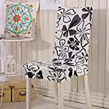 ZTIT Spandex Stretch Chair Cover Flower Printing Rimovibile Anti-Dirty Chair Covers Plant Leaves Flower Pattern Coprisedili 05 one size