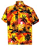 LA LEELA männer Hawaiihemd Kurzarm Button Down Kragen Fronttasche Beach Strand hemd manner Urlaub Casual herren Aloha Orange_290 S Likre 538