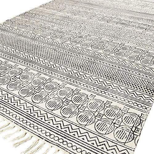 Eyes of India - weiß und schwarz Baumwolle Block Druckfläche Akzent Dhurrie Teppich Hand geflochten flach zu weben - Weiß, 5 X 8 ft. (150 X 243 cm) - 5 X 8 Teppich