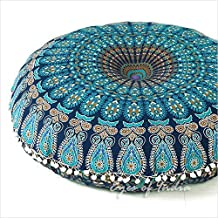 "EYES OF INDIA - 32"" AZUL MANDALA FUNDA DE COJÍN DE SUELO HIPPIE Decorativo Decoración Bohemia"
