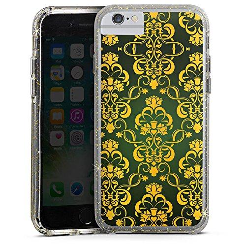 Apple iPhone 8 Bumper Hülle Bumper Case Glitzer Hülle Blumenmuster Krone Crown Bumper Case Glitzer gold