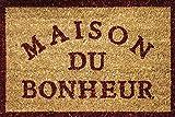 Tapis Déco Paillasson Imprimé Bonheur Coco/PVC Imprimé 60 x 40 cm