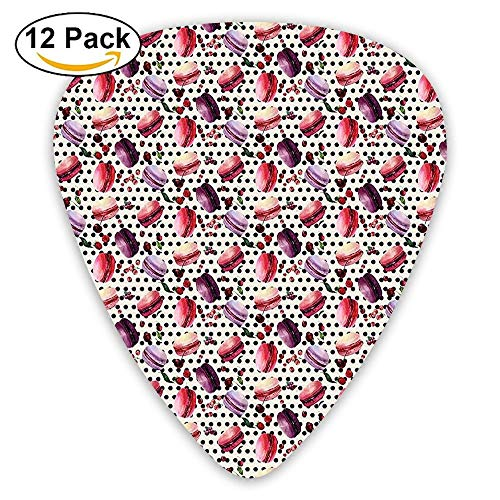 Watercolor Macarons Pattern French Gourmet Desert With Berries Dotted Background Guitar Picks 12/Pack Set -