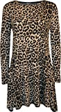WearAll - Damen Leopard-Tierdruck-Langarm Ausgestelltes Top Swing-Kleid - Leopard - 36-38