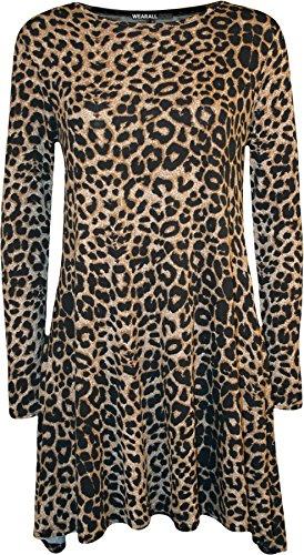 WearAll - Damen Leopard-Tierdruck-Langarm Ausgestelltes Top Swing-Kleid - 1 Faben - Größen 36-42 Leopard