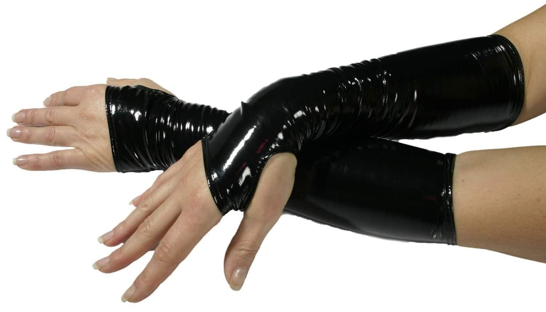 Leda Pol 1479vernice Scaldamuscoli gambe ellbogenlang senza cerniera nero XL