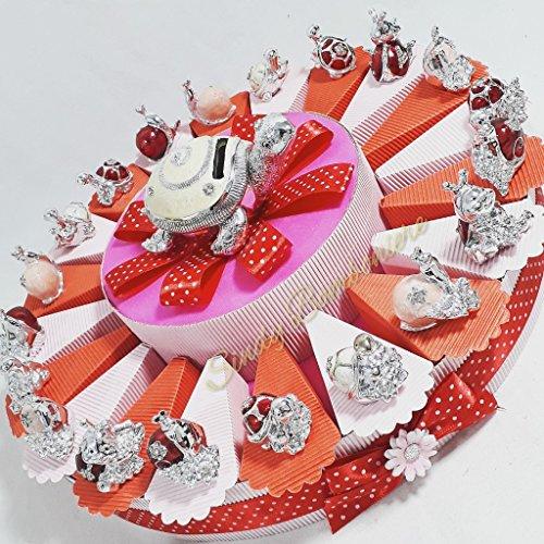 Bomboniere comunione femmina coccinella tartaruga argentate torta portaconfetti cresima femminuccia sb * (torta da 35 fette)