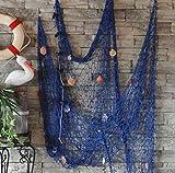 XINLINTRA Rete da Pesca Cucita a Mano/Decorazione per la Tua casa o Ristorante, Stile mediterraneo, Colore: Blu 1.5M*2M Blu