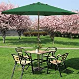 outdoortips 3M UV Pretection Crank 45° Tilt Outdoor Market Patio Parasol Umbrella Great for Garden,Hotel,Beach