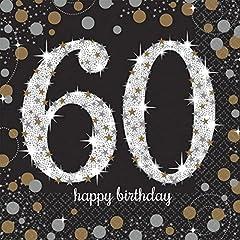 Idea Regalo - Amscan - Celebrazione del 60 ° compleanno aniversario, 16 tovaglioli, nero e oro