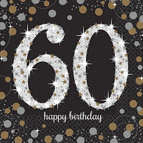 amscan 511547 Servietten zur Feier des 60.Geburtstags, mit Goldener Verzierung, 33cm (Up Spiele Halloween Happy Dress)