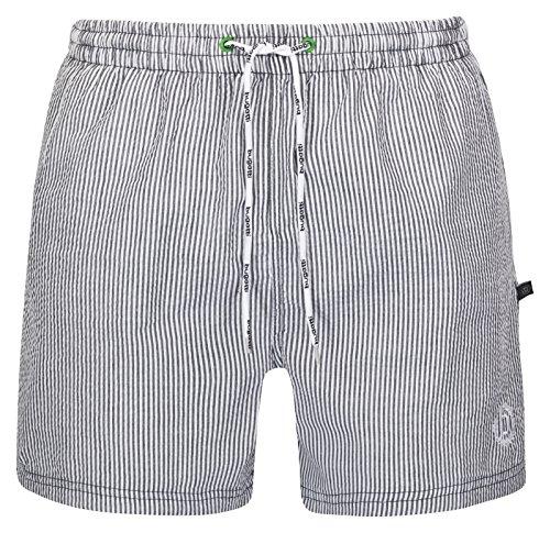 bugatti® - Herren Badeshorts, modern gestreift in marine/weiß, schwarz/weiß oder grün/weiß Schwarz/Weiß