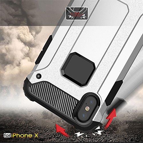 iPhone X Custodia, 2-in-1 Cases Protettivo Estrema Assorbimento-Urti Armatura Cover Per iPhone X. (Rosso) Blu
