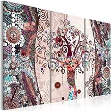 Quadro 120x80 cm - 3 Tre colori da scegliere - 3 Parti - Quadro su tela fliselina - Stampa in qualita fotografica – Gustav Klimt Baum Mosaico l-C-0002-b-g 120x80 cm B&D XXL - Parti