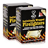 X2 Boxes of Individually Wrapped BBQ Firelighters (18/Box Fire Light Blocks for Open Fires Stoves Chimineas Camp Fires BBQ - Comes with THE CHEMICAL HUT� Anti-Bac Pen