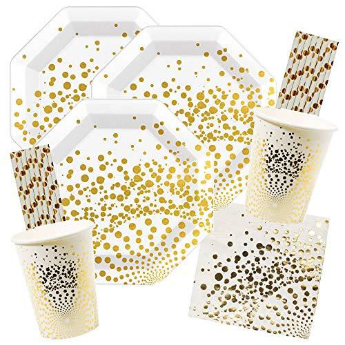 52-teiliges Party-Set Luxury Gold - Teller Becher Servietten Trinkhalme für 12 Personen