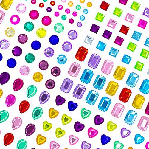 MOKIU Glitzersteine Strasssteine selbstklebend modische Schmucksteine Acryl bunt Glitzer zum Aufkleben und Gestalten 1121 Stück