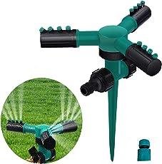 Lawn Sprinklers Automatic 360 Rotating Adjustable Garden Hose Watering Sprinkler with Leak Free 3 Arm Sprayer,Spike Base
