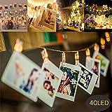 MMTX 40 LED Photo Clips Luces de cadena con pilas Plug para luces de Navidad Remote Peg Imagen de luz para habitaciones Colgando fotos, obras de arte, notas y tarjetas, mejor para Navidad, boda, fiesta de luces de hadas decorativas