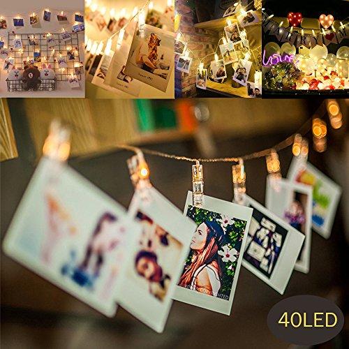 Mmtx 40 led foto clips stringa illuminazione per luci natalizie peg per camera da letto appendere, note e cartoline, ideale per natale, matrimonio, compleanno,fata decorazioni per feste