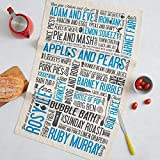 Cockney Rhyming Slang Tea Towel (Dish Cloth) - Made in Britain of 100% Cotton