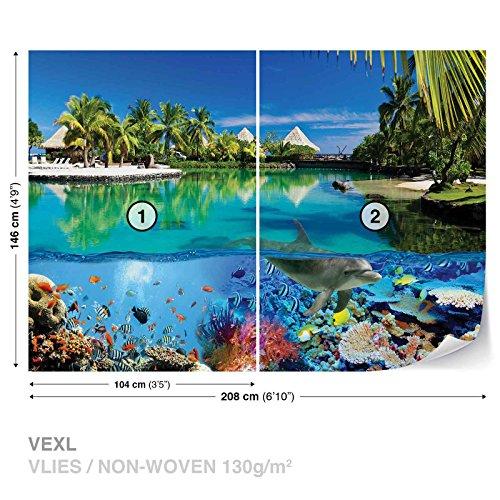 Preisvergleich Produktbild Insel Paradies See Korallen Delphin Fototapete Wandbild Fototapeten Bild Tapete VLIES (EasyInstall) (3356WS)