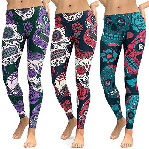 Hey! Floral Leggings deporte mujer,Longra ★ Las mujeres de cintura alta de impresión Gym Yoga Running Fitness Leggings Pants Ropa de entrenamiento