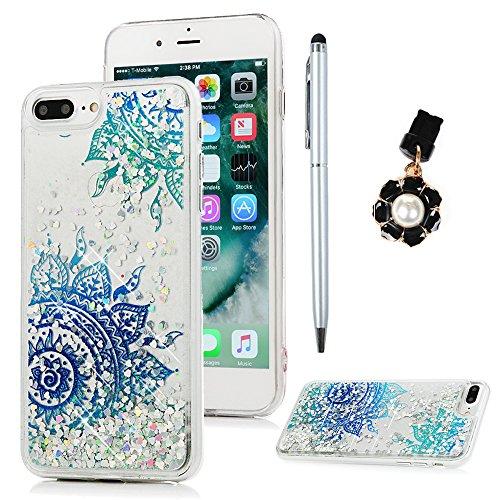 iPhone 7 Plus Hülle iPhone 8 Plus Silikon Case Premium Bling Treibsand Tasche Stoßdämpfend Schutzhülle Case Cover Handytasche Bumper Handyhülle TPU Durchsichtige Rückhülle Schale Diagonale Totemblume
