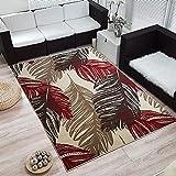 Moderner Design Kurzflor Teppich »Feather« Feder, Größe:120x170 cm, Farbe:creme/rot/braun