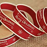East of India Christmas Ribbon - Merry Christmas and Snowflake
