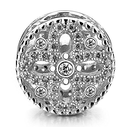 Beauty charm in argento sterling 925four leaves flower beads diy zircon flower charm per braccialetti pandora