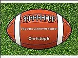 Personnalisé ballon de rugby 25.5 x 19 centimètre comestibles givrage Gâteau Topper S'il vous plaît donner la personnalisation comme un « message cadeau »