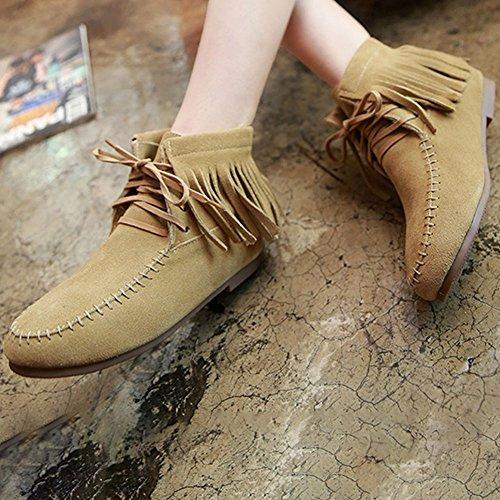 Frestepvie Bottes Plates Frange Suédine Automne Hiver Lacets Boots Femme Bottine Courtes Classique Ville Confort Chaussure Doublure velours Beige B